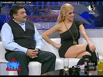 Argentina Celebrity Virginia Gallardo hot legs in miniskirt